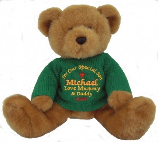 Teddy Bears wearing custom knitted sweaters with custom embroidery